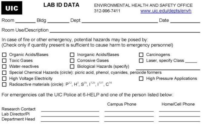 Lab Id Cards Environmental Health Amp Safety University